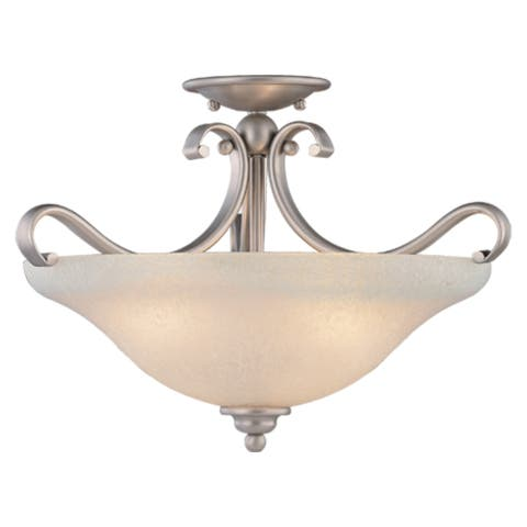Monrovia 17-in W Brushed Nickel Bowl Semi Flush Mount Ceiling Light White Glass - 17-in W x 12-in H x 17-in D