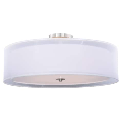 Nuage 30-in W Satin Nickel Mid-Century Modern Drum Semi Flush Mount Ceiling Light White Fabric