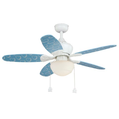 Alex Children's 44 inch Boy's Blue Cloud Ceiling Fan with LED Light Kit - 44-in W x 20.5-in H x 44-in D
