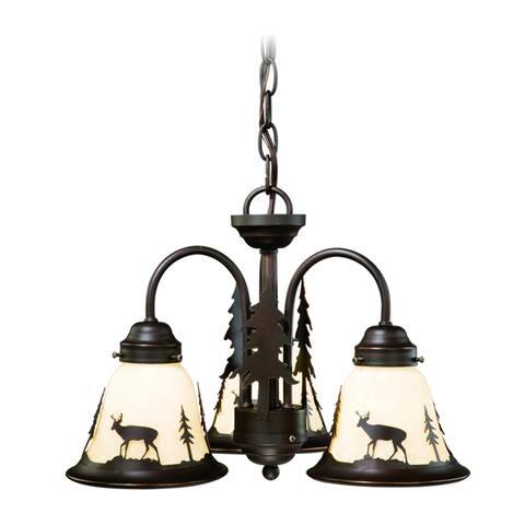 Bryce 3L LED Bronze Rustic Deer Mini Chandelier or Fan Light Kit - 15.5-in W x 10.5-in H x 15.5-in D