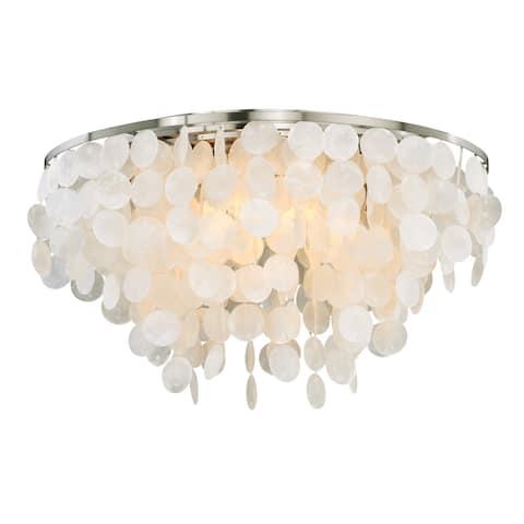 Elsa 24-in W Satin Nickel Capiz Shell Coastal Flush Mount Ceiling Light Fixture - 24-in W x 14-in H x 24-in D