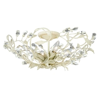 Jardin 19-in W Crystal Cream Vintage Vine Semi Flush Mount Ceiling Light - 19-in W x 8-in H x 19-in D
