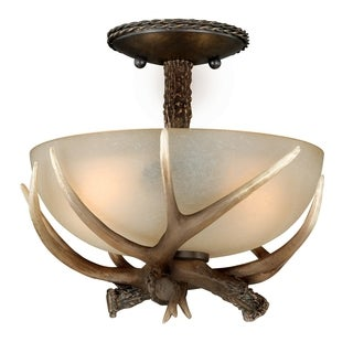 "Vaxcel Yoho 12"" Semi-Flush Mount Black Walnut"