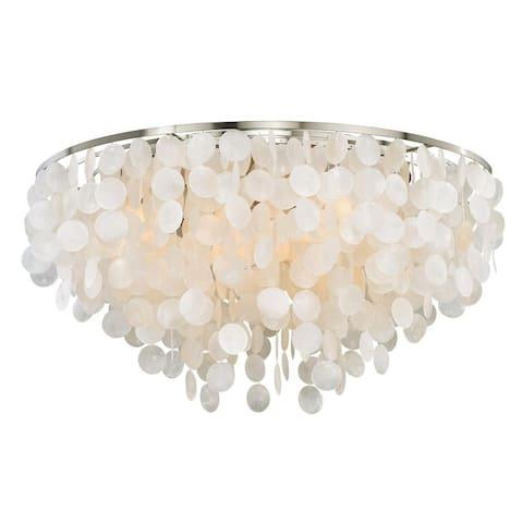 Elsa 30-in W Satin Nickel Capiz Shell Coastal Flush Mount Ceiling Light Fixture - 30-in W x 16.5-in H x 30-in D
