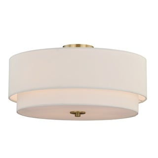 Burnaby 20.5-in W Brass Mid-Century Modern Drum Semi Flush Mount Ceiling Light White Linen - 20.5-in W x 8-in H x 20.5-in D