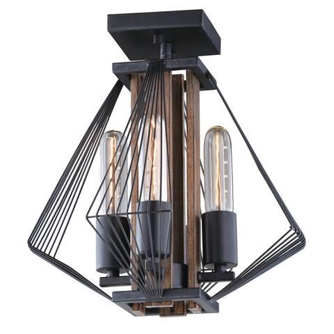 Dearborn 13-in W Black Industrial Geometric Wire Cage Semi Flush Mount Ceiling Light - 13-in W x 12.5-in H x 13-in D