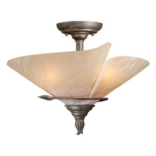 "Vaxcel Capri 15"" Semi-Flush Mount Black Walnut"