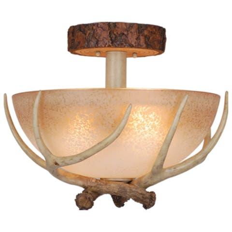 Lodge 16-in W Cream Rustic Antler Bowl Semi Flush Mount Ceiling Light Cream Glass - 16-in W x 12.75-in H x 16-in D