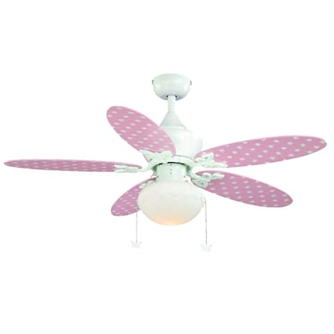Alice Children's 44 inch Girl's Pink Daisy and White Ceiling Fan with LED Light Kit - 44-in W x 20.5-in H x 44-in D