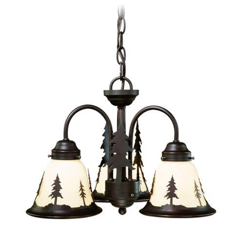 Yosemite 3L LED Bronze Rustic Tree Mini Chandelier or Fan Light Kit - 15.5-in W x 10.5-in H x 15.5-in D
