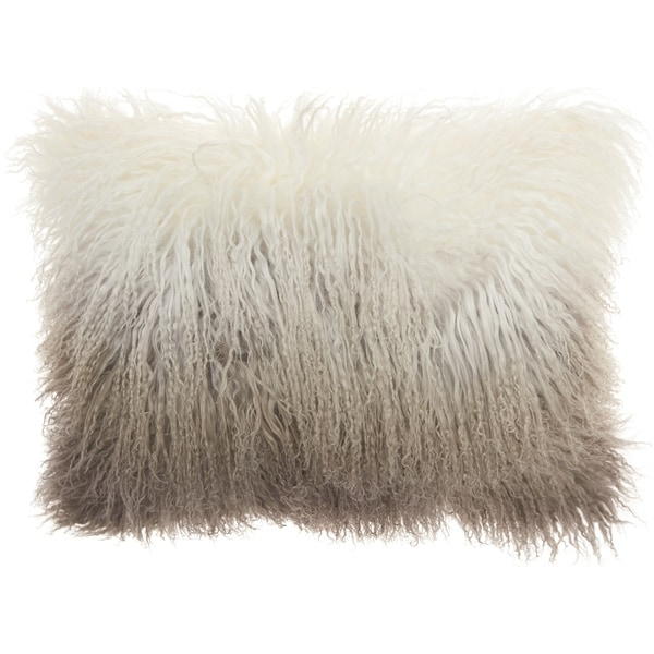 Mina Victory Fur Ombre Grey/White Throw Pillow