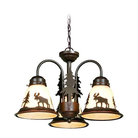 Yellowstone 3L LED Bronze Rustic Moose Mini Chandelier or Fan Light Kit - 15.5-in W x 10.5-in H x 15.5-in D