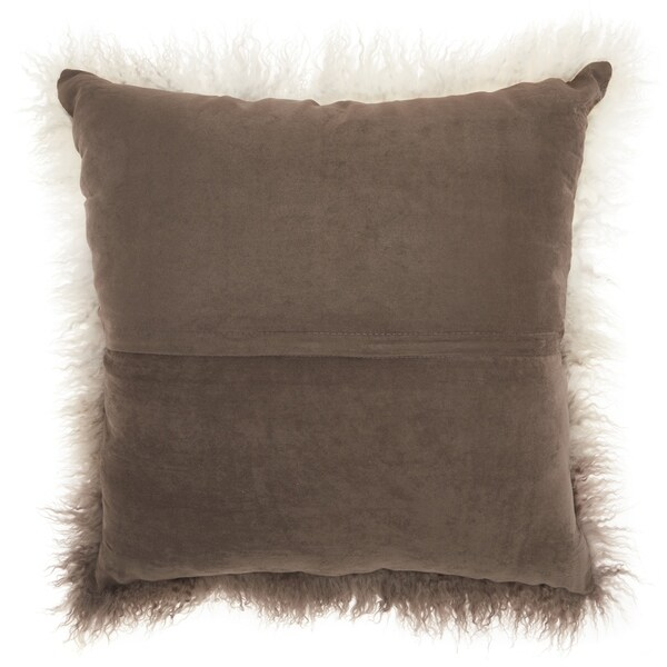 Mina Victory Fur Ombre Grey/White Throw Pillow