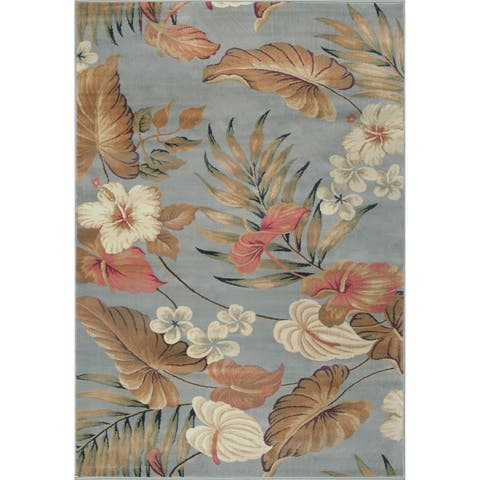 KAS Rugs Lifestyles Slate Tropical Area Rug