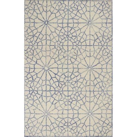 KAS Sasha Ivory/Blue Mosaic Rug