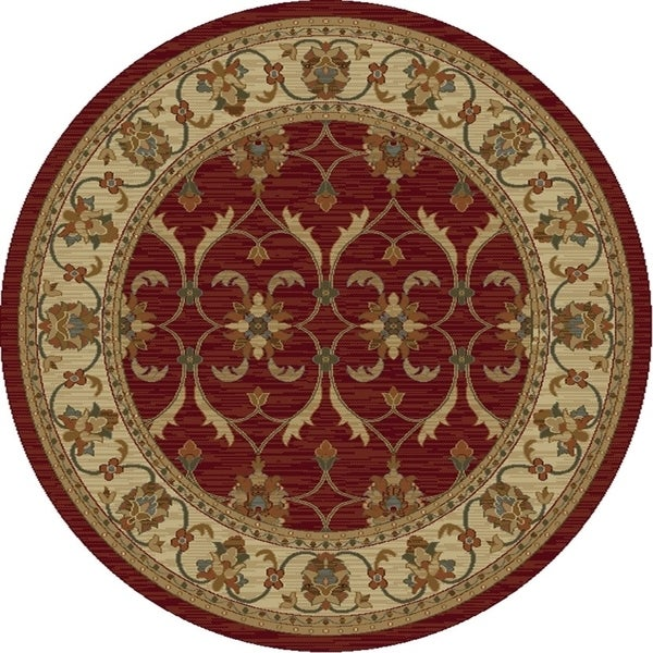 KAS Lifestyles Red/Ivory Agra Round Rug - 5'3