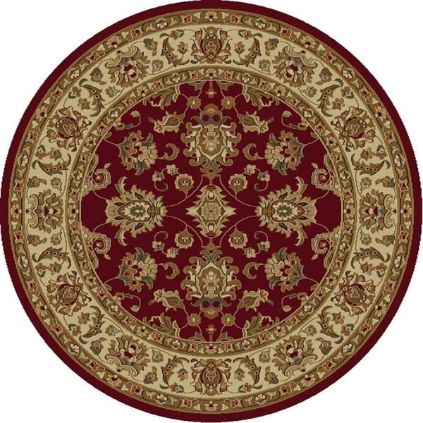 KAS Lifestyles Red/Ivory Kashan Round Rug - 7'10