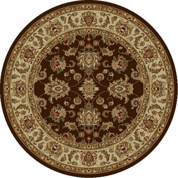 KAS Lifestyles Mocha/Ivory Kashan Round Rug - 5'3