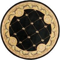 KAS Jewel Black Fleur-De-Lis Round Rug - 7'9