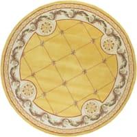 KAS Jewel Gold Fleur-De-Lis Round Rug - 7'9