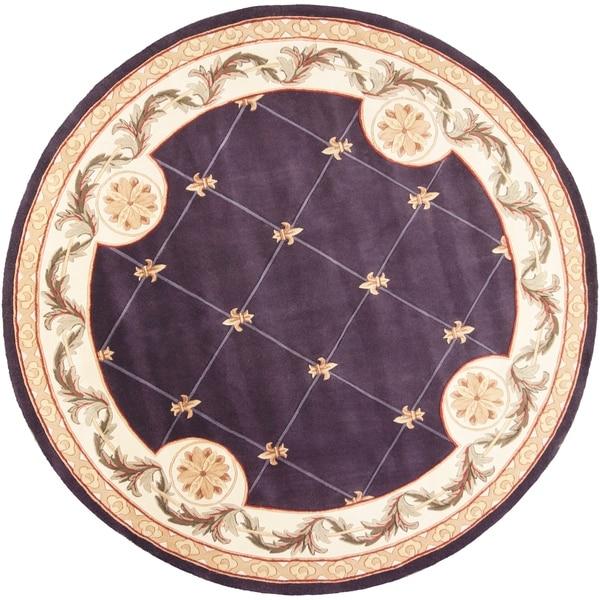 KAS Jewel Grape Fleur-De-Lis Round Rug - 7'9