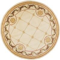 KAS Jewel Antique Ivory Fleur-De-Lis Round Rug - 7'9