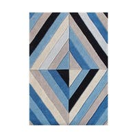 Different Shades Of Blue In A Patterned Rug - 5' x 8'