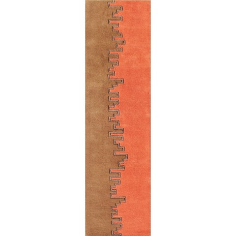 The Alliyah Building Textured Design 1 Pure Wool Fibers Rug - 2 x 8
