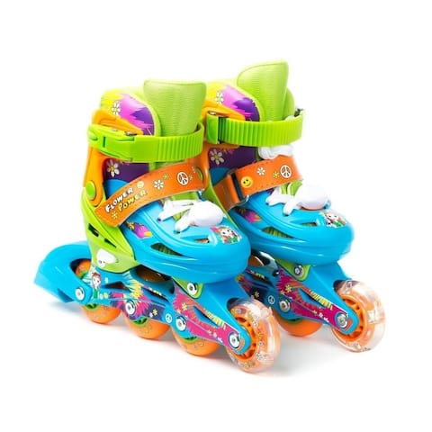 TITAN Flower Power Princess Girls Inline Skates with Light-Up LED Laces & Wheel, Kid Size Small