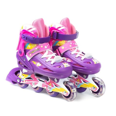 TITAN Flower Princess Girls Inline Skates with Light-Up LED Laces & Wheel, Youth Size Small