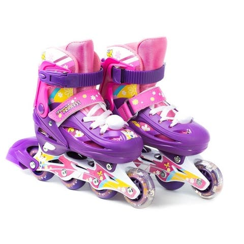 TITAN Flower Princess Girls Inline Skates with Light-Up LED Laces & Wheel, Kids Medium