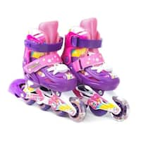TITAN Flower Princess Girls Inline Skates with Light-Up LED Laces & Wheel, Kid Size Small