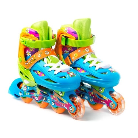 TITAN Flower Power Princess Girls Inline Skates with Light-Up LED Laces & Wheel, Youth Size Large