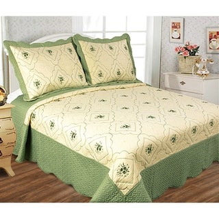 Glory Home Designs - Diana 3 Piece Embroideried Quilt Set - Sage