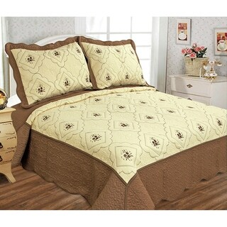 Glory Home Designs - Diana 3 Piece Embroideried Quilt Set - Brown