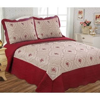 Glory Home Designs - Diana 3 Piece Embroideried Quilt Set - Taupe/Burgundy