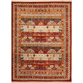 "Shawl Garish Alaine Red/Rust Wool Rug (8'10 x 11'9) - 8'10"" x 11' 9"""