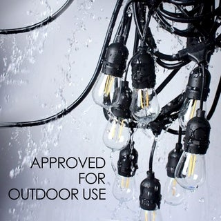 LEDPAX 24 FT LED Outdoor Waterproof String Lights, 7 Hanging Sockets, 8 S14 LED Edison Bulbs, Black