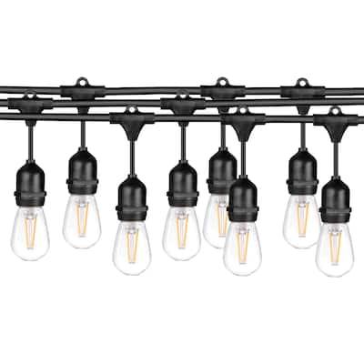 LEDPAX 48-foot Outdoor Waterproof 15-light LED String Lights - Black - 48 Foot