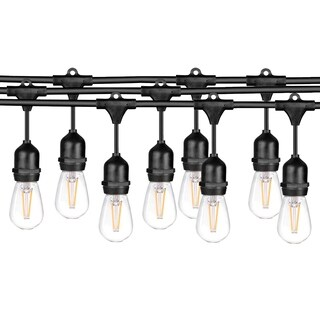 LEDPAX 48 FT LED Outdoor Waterproof String Lights, 15 Hanging Sockets, 16 S14 LED Edison Bulbs, Black