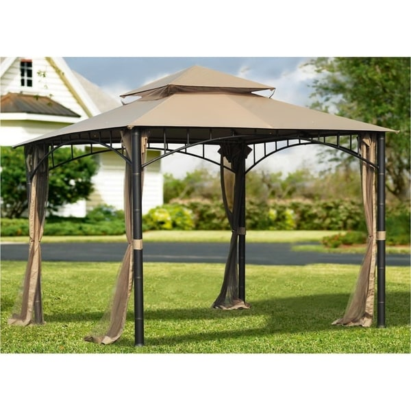 Sunjoy Replacement Canopy, for Target Madaga Gazebo Set, Patio Canopy Tent Only in Brown (10x10)(As Is Item)