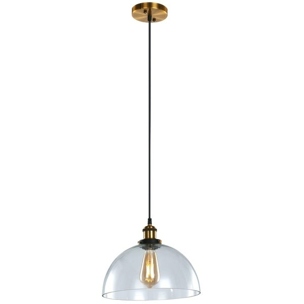 LEDPAX Winfield Half Circle Single Bulb Encased Pendant Fixture - Brown Bronze, 30 X 30CM Shade