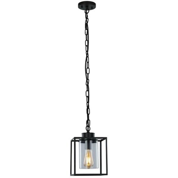 LEDPAX Nyssa Single Bulb Lantern Pendant Fixture - Brown Bronze, 20 X 30CM Shade