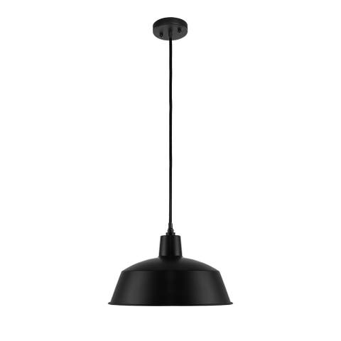 "LEDPAX Kenai Farmhouse Pendant Fixture, Steel Shade with Textile Cable - Matte Black, 16.5"" X 9 """