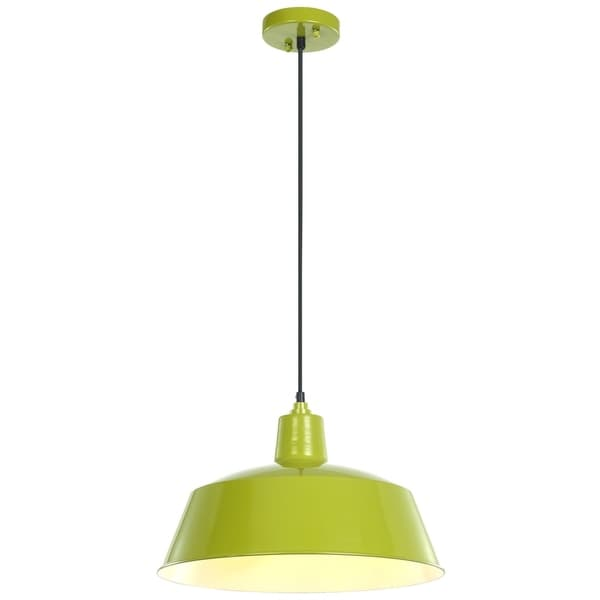 "LEDPAX Kenai Pendant Fixture, Steel Shade with Textile Cable - Lime Green, 16.5"" X 9 """