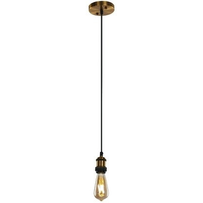 LEDPAX Stayton Single Bulb Pendant Fixture with Black Braided Cable - Antique Bronze