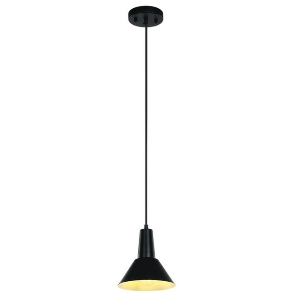 "LEDPAX Danbury Pendant Fixture, Steel Shade with Textile Cord - Matte Black, 7"" X 7"""