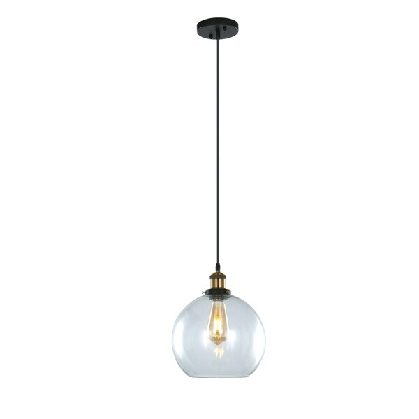 LEDPAX Winfield Circular Single Bulb Encased Pendant Fixture - Brown Bronze, 25 X 28CM Shade