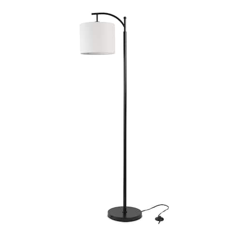 LEDPAX Tilden Hanging Floor Lamp with Round Base & White Lampshade - Black, E26 Base
