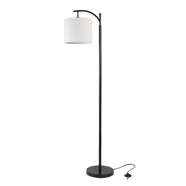 LEDPAX Tilden Hanging Floor Lamp with Round Base & White Lampshade - Black, E26 Base. Opens flyout.